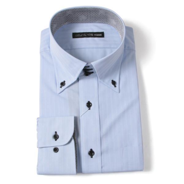 Black on TETE HOMMEボタンダウン シャツ 長袖 ワイシャツ カジュアルシャツ メンズファッション 結婚式 二次会 パーティー ブランド|gauss|05