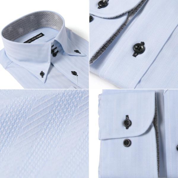 Black on TETE HOMMEボタンダウン シャツ 長袖 ワイシャツ カジュアルシャツ メンズファッション 結婚式 二次会 パーティー ブランド|gauss|06
