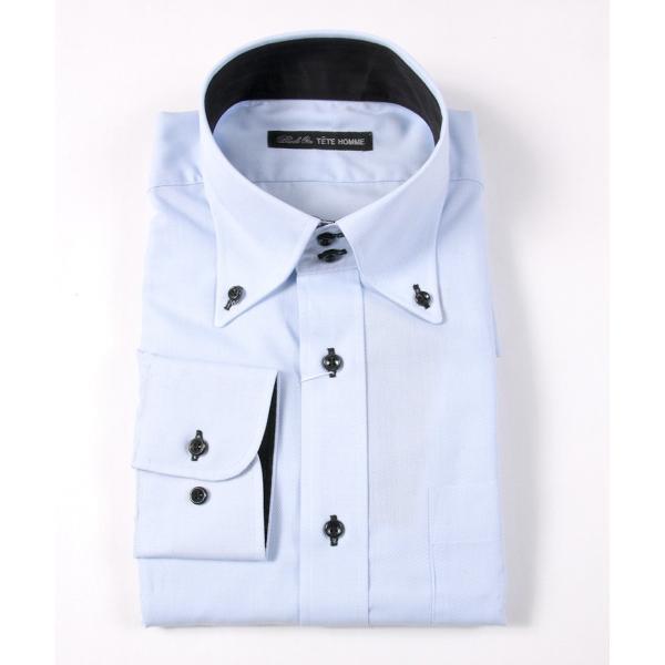 シャツ メンズ 結婚式 二次会 スーツ Black on TETE HOMME デュエボットーニ カラー ボタンダウン ワイシャツ 長袖 パーティー ブランド gauss 02
