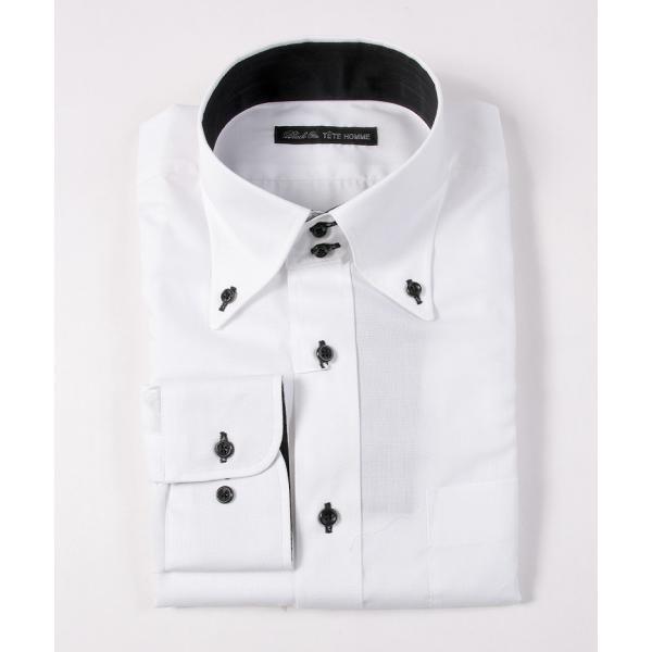 シャツ メンズ 結婚式 二次会 スーツ Black on TETE HOMME デュエボットーニ カラー ボタンダウン ワイシャツ 長袖 パーティー ブランド gauss 03