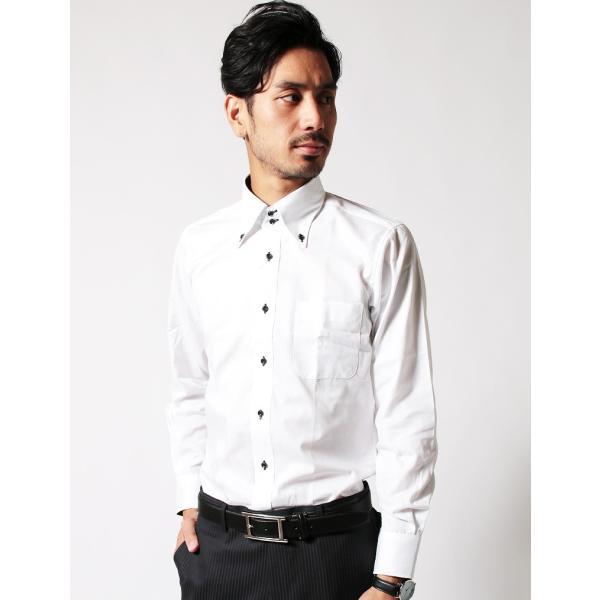 シャツ メンズ 結婚式 二次会 スーツ Black on TETE HOMME デュエボットーニ カラー ボタンダウン ワイシャツ 長袖 パーティー ブランド|gauss|05
