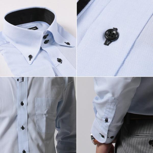 シャツ メンズ 結婚式 二次会 スーツ Black on TETE HOMME デュエボットーニ カラー ボタンダウン ワイシャツ 長袖 パーティー ブランド gauss 06