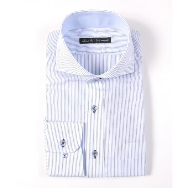 メンズ シャツ 結婚式 二次会 スーツ Black on TETE HOMME ホリゾンタルカラー ストライプ シャツ 長袖 ワイシャツ カジュアルシャツ パーティー ブランド|gauss|02