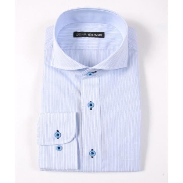 メンズ シャツ 結婚式 二次会 スーツ Black on TETE HOMME ホリゾンタルカラー ストライプ シャツ 長袖 ワイシャツ カジュアルシャツ パーティー ブランド|gauss|03