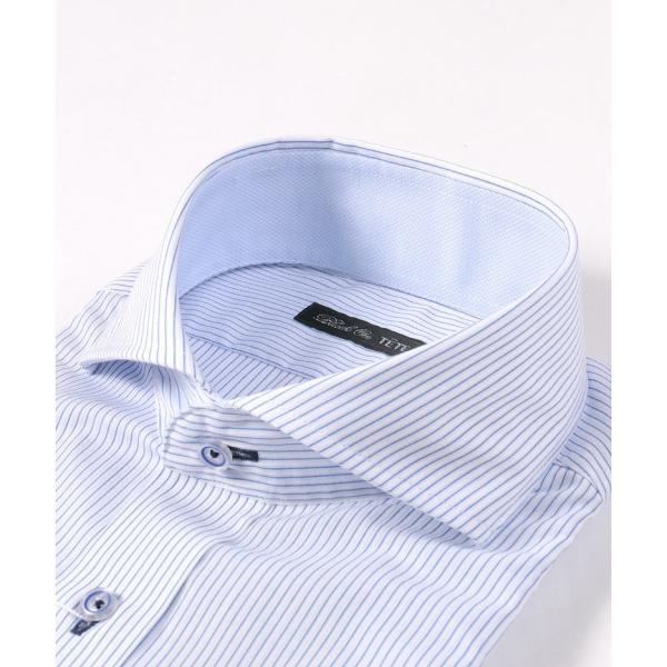 メンズ シャツ 結婚式 二次会 スーツ Black on TETE HOMME ホリゾンタルカラー ストライプ シャツ 長袖 ワイシャツ カジュアルシャツ パーティー ブランド|gauss|04