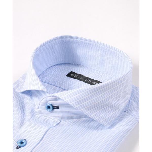 メンズ シャツ 結婚式 二次会 スーツ Black on TETE HOMME ホリゾンタルカラー ストライプ シャツ 長袖 ワイシャツ カジュアルシャツ パーティー ブランド|gauss|05