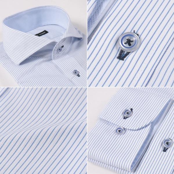 メンズ シャツ 結婚式 二次会 スーツ Black on TETE HOMME ホリゾンタルカラー ストライプ シャツ 長袖 ワイシャツ カジュアルシャツ パーティー ブランド|gauss|06