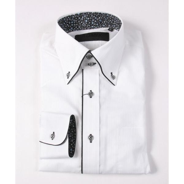 裏地 花柄 シャツ メンズ ADMIX ATELIER SAB MEN 日本製 デュエボットーニ カラー パイピング 長袖 ワイシャツ カジュアルシャツ 結婚式 二次会 パーティー|gauss|02