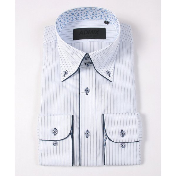 裏地 花柄 シャツ メンズ ADMIX ATELIER SAB MEN 日本製 デュエボットーニ カラー パイピング 長袖 ワイシャツ カジュアルシャツ 結婚式 二次会 パーティー|gauss|04