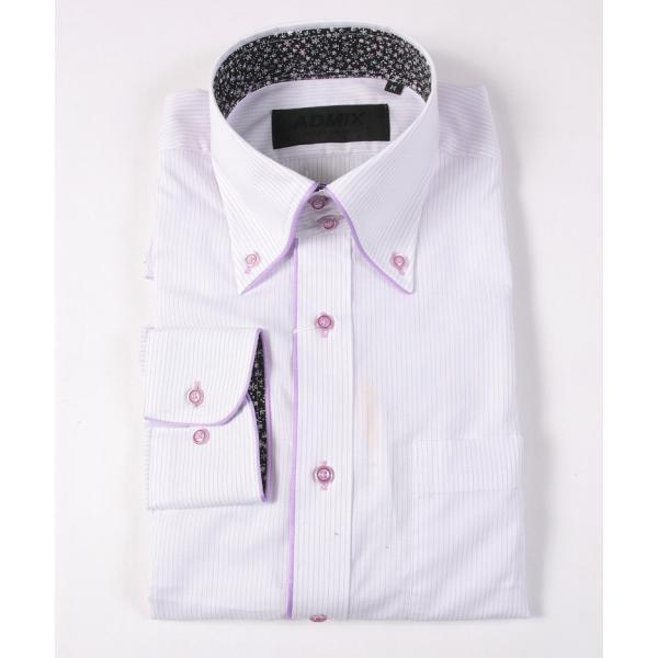 裏地 花柄 シャツ メンズ ADMIX ATELIER SAB MEN 日本製 デュエボットーニ カラー パイピング 長袖 ワイシャツ カジュアルシャツ 結婚式 二次会 パーティー|gauss|05