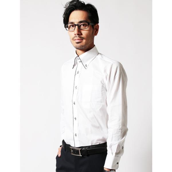 裏地 花柄 シャツ メンズ ADMIX ATELIER SAB MEN 日本製 デュエボットーニ カラー パイピング 長袖 ワイシャツ カジュアルシャツ 結婚式 二次会 パーティー|gauss|06