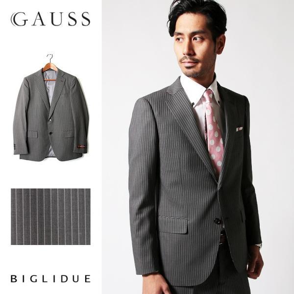 セットアップ シングル メンズ スーツ 結婚式 二次会 BIGLIDUE ストライプ 2B  パーティー ブランド 上下セット|gauss