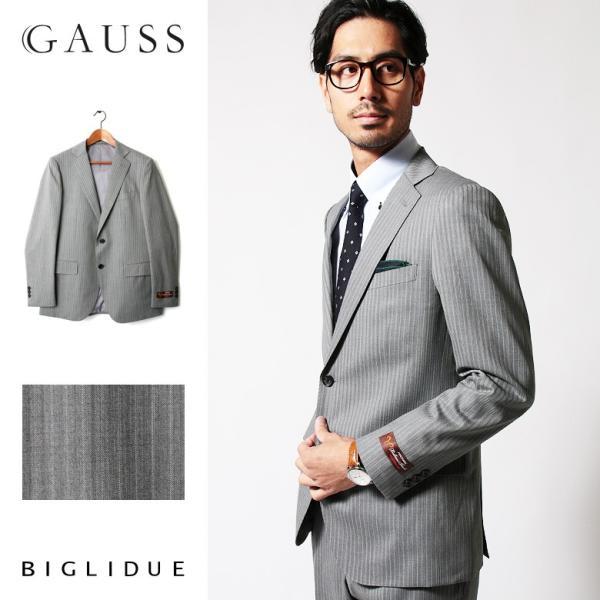 メンズ スーツ セットアップ シングルスーツ 結婚式 二次会 BIGLIDUE ストライプ 2B パーティー ブランド 上下セット モテ|gauss