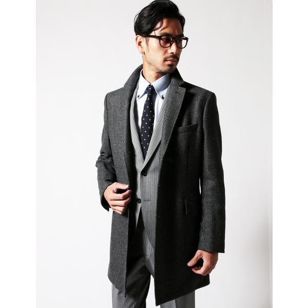 チェスターコート メンズ スーツ 用 コート / アウター 結婚式 二次会 BIGLIDUE 小紋柄 ウール 混 パーティー ブランド|gauss|05