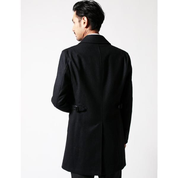 ハーフコート メンズ スーツ 用 コート / アウター 結婚式 二次会 BIGLIDUE ヘリンボーン ウール パーティー ブランド ステンカラー|gauss|04