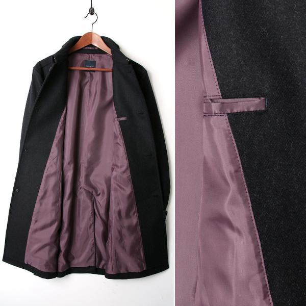 ハーフコート メンズ スーツ 用 コート / アウター 結婚式 二次会 BIGLIDUE ヘリンボーン ウール パーティー ブランド ステンカラー gauss 06