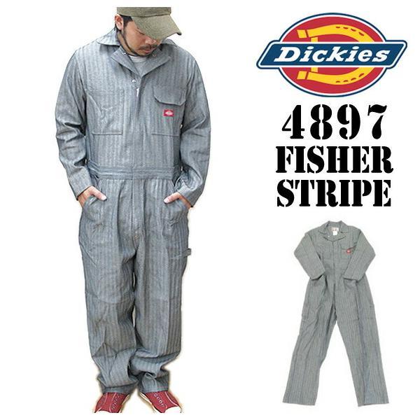 ディッキーズ つなぎ 長袖 4897 フィッシャーストライプ Dickies 作業服|gb-int