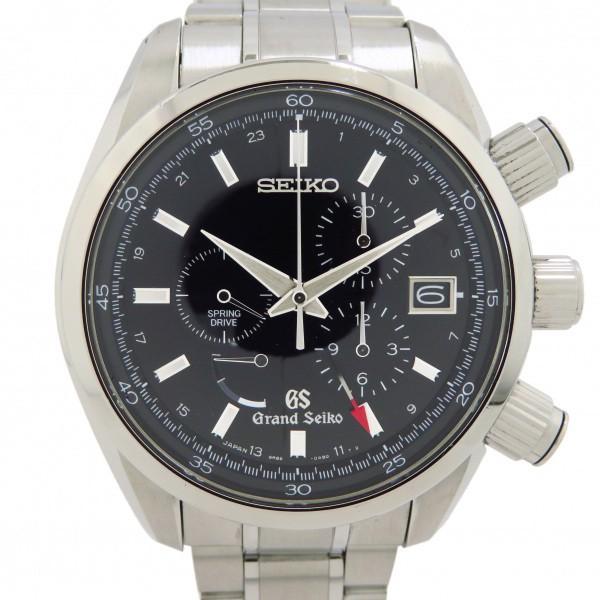セイコーSEIKOグランドセイコースプリングドライブ9R86-0AA0ブラック文字盤中古腕時計メンズ