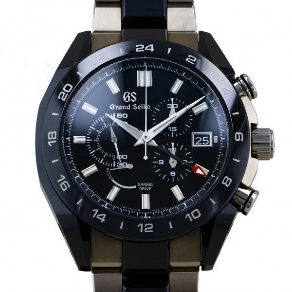 セイコーSEIKOグランドセイコースプリングドライブクロノグラフGMT9R86-0AG0ブラック文字盤中古腕時計メンズ