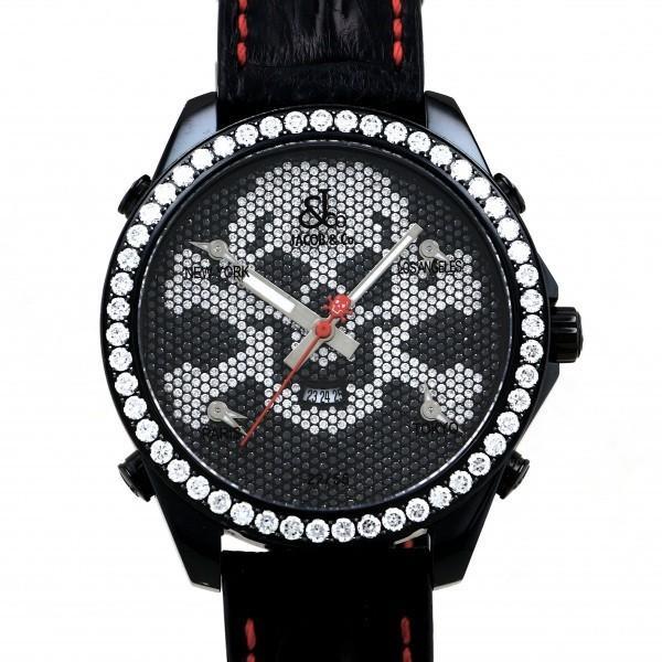 ジェイコブJACOB&COファイブタイムゾーンスカルリミテッドJC-SKULL9Dブラック文字盤中古腕時計メンズ