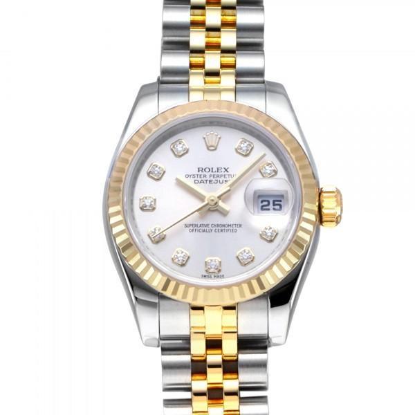 ロレックスROLEXデイトジャスト179173Gシルバー文字盤中古腕時計レディース