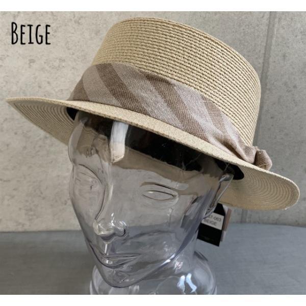 店内商品2点以上ご購入で カンカン帽ストライプリボン帯ポケッタブル折りたたみ バックインハットサイズ調整男女兼用ストローハット