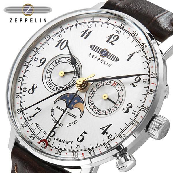 the latest b5b1e f9aee ツェッペリン 腕時計 ZEPPELIN 時計 Zeppelin号誕生 クロノグラフ 腕時計 メンズ 7036-1 シルバー ブラック