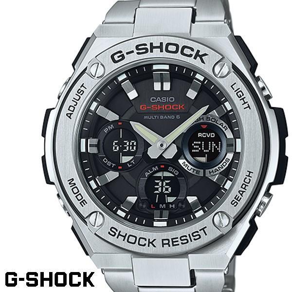 buy online b1ab9 996fd G-SHOCK ジーショック メンズ 腕時計 GST-W110D-1A Gスチール メタルバンド 電波ソーラー 電波時計 ブラック シルバー  うでどけい CASIO G-STEEL