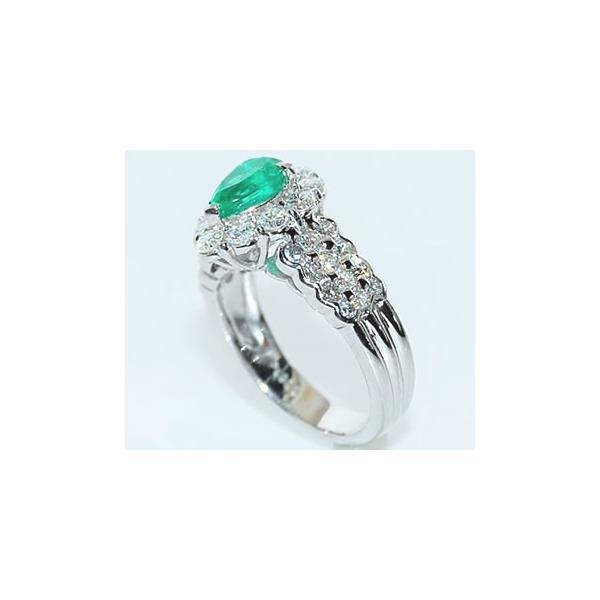 ペアシェイプカット エメラルド-0.81ct&ダイヤモンド ゴージャス プラチナ デザインリング (指輪)