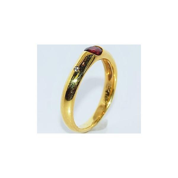 ルビー-0.32ct&ダイヤモンド K18イエローゴールド シンプル デザイン リング (指輪)