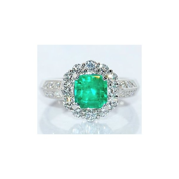 エメラルド-1.25ct&ダイヤモンド プラチナ クラシックデザイン リング (指輪)
