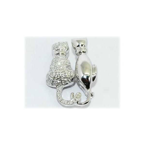 K18WG ダイヤモンド-0.550ct 2匹 猫/ネコ/キャット デザイン ブローチ