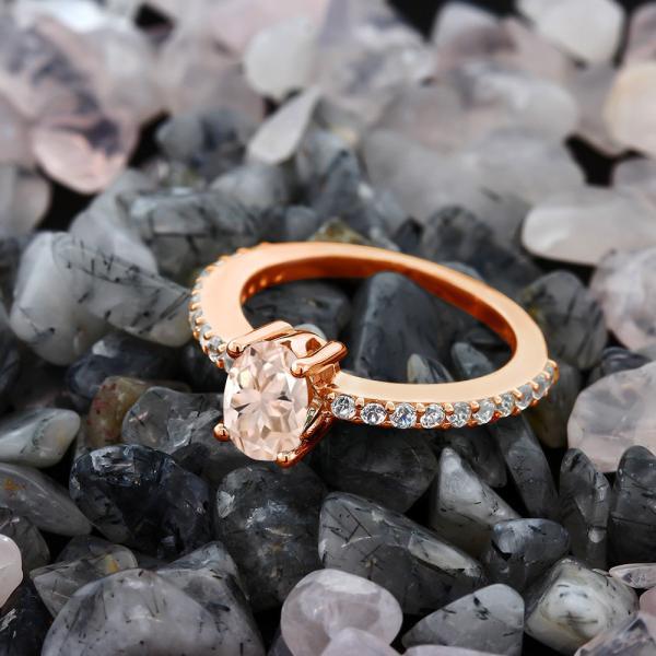 指輪 リング 0.95カラット 天然モルガナイト(ピーチ) 合成ホワイトサファイア(ダイヤのような無色透明) シルバー 925 ローズゴールドコーティング