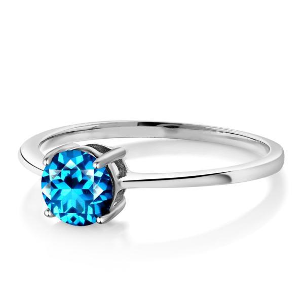 指輪 リング 0.2カラット 天然石トパーズ カシミアブルー(スワロフスキー 天然石シリーズ) 10金 ホワイトゴールド(K10)
