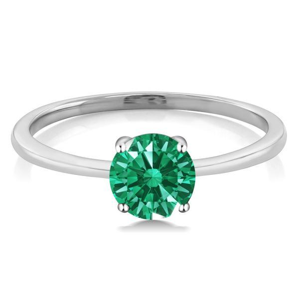 指輪 リング スワロフスキージルコニア(グリーン) 10金 ホワイトゴールド(K10)