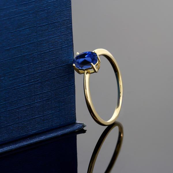 指輪 リング 0.9カラット シミュレイテッドサファイア 10金 イエローゴールド(K10)