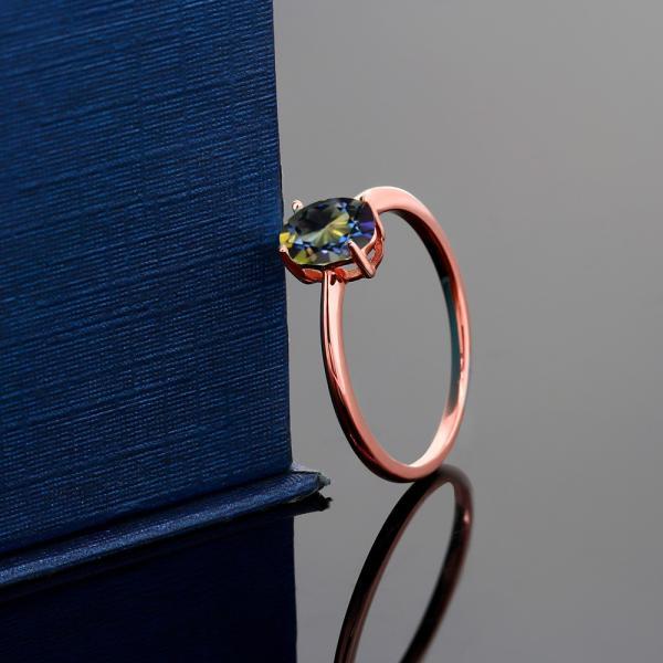 指輪 リング 0.8カラット 天然石 ミスティックトパーズ(ブルー) 10金 ローズゴールド(K10)