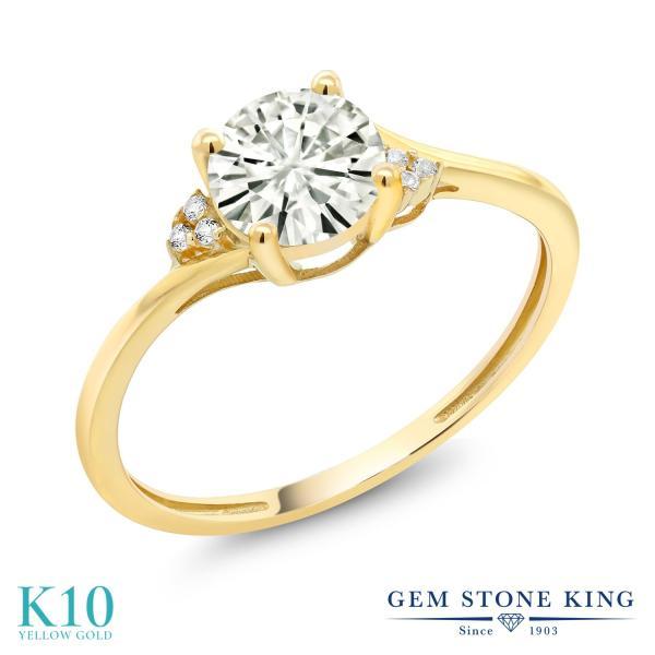 指輪 リング 0.84カラット Forever Classic モアッサナイト Charles & Colvard 10金 イエローゴールド(K10) 天然ダイヤモンド