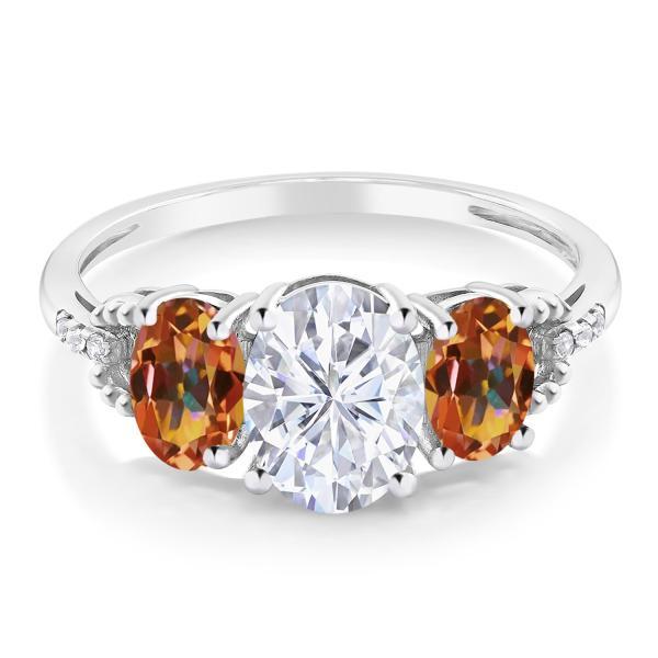 指輪 リング 2.54カラット Forever One GHI モアッサナイト Charles & Colvard 天然石 エクスタシーミスティックトパーズ 天然ダイヤモンド 10金