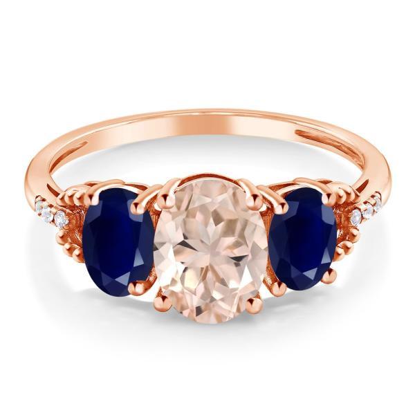 指輪 リング 2.14カラット 天然モルガナイト(ピーチ) 天然サファイア 天然ダイヤモンド 10金 ローズゴールド(K10) 天然ダイヤモンド