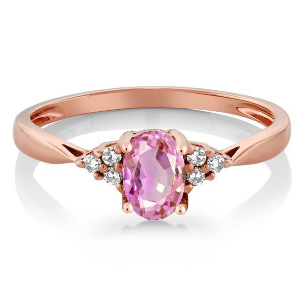 指輪 リング 0.55カラット 天然サファイア(ピンク) 天然ダイヤモンド 14金 ローズゴールド(K14)