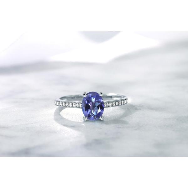 指輪 リング 1.3カラット 天然ミスティックトパーズ(タンザナイトブルー) 10金 ホワイトゴールド(K10) 天然ダイヤモンド
