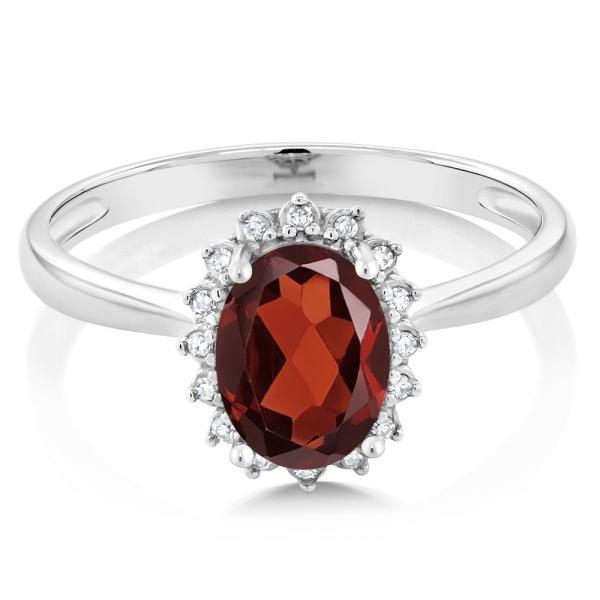 指輪 リング 1.2カラット 天然ガーネット 10金 ホワイトゴールド(K10) 天然ダイヤモンド