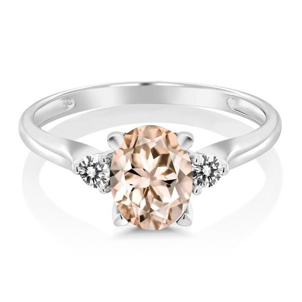 指輪 リング 1.13カラット 天然モルガナイト(ピーチ) 10金 ホワイトゴールド(K10) 天然ダイヤモンド