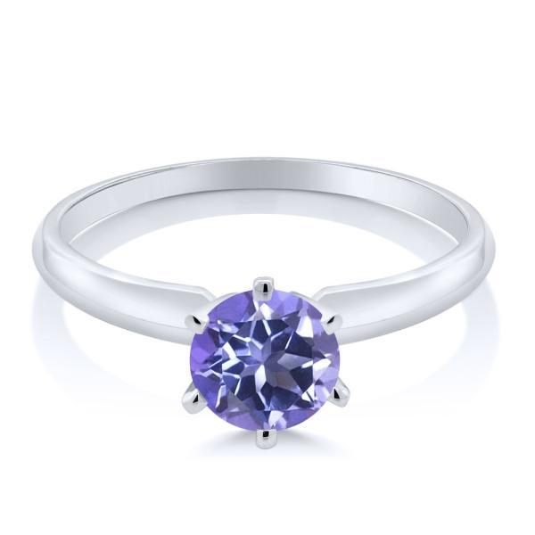 指輪 リング 1カラット 天然ミスティックトパーズ(タンザナイトブルー) 14金 ホワイトゴールド(K14)