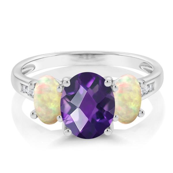 指輪 リング 1.64カラット 天然アメジスト 天然エチオピアンオパール 天然ダイヤモンド 10金 ホワイトゴールド(K10) 天然ダイヤモンド