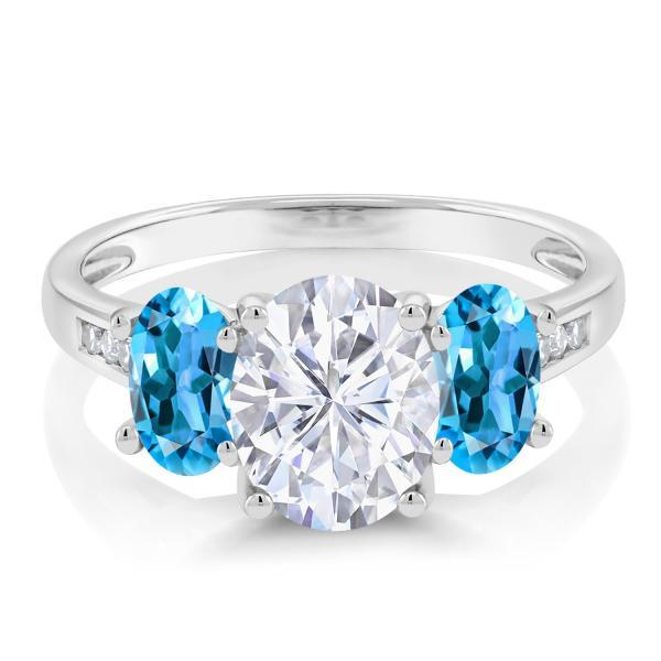 指輪 リング 2.5カラット Forever One GHI モアッサナイト Charles & Colvard 天然トパーズ(スイスブルー) 天然ダイヤモンド 10金 ホワイトゴールド(K10)