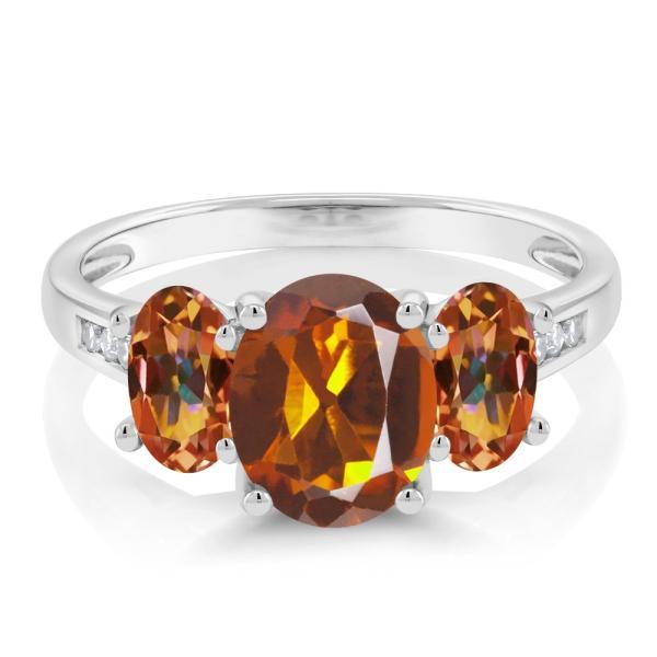 指輪 リング 2.1カラット 天然マデイラシトリン(オレンジレッド) 天然石 エクスタシーミスティックトパーズ 天然ダイヤモンド 10金 ホワイトゴールド(K10)