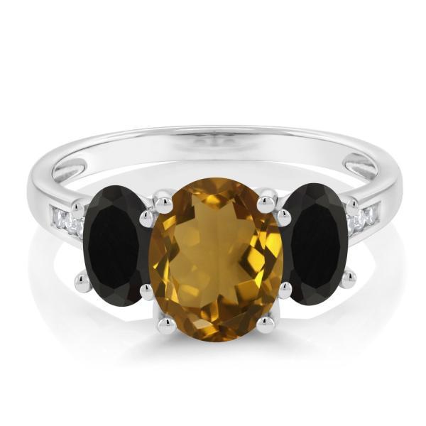 指輪 リング 1.78カラット 天然石ウィスキークォーツ 天然ブラックオニキス 天然ダイヤモンド 10金 ホワイトゴールド(K10) 天然ダイヤモンド