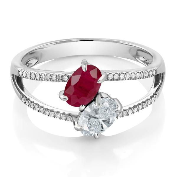 指輪 リング 1.31カラット 天然ルビー 天然ダイヤモンド 10金 ホワイトゴールド(K10) 天然ダイヤモンド